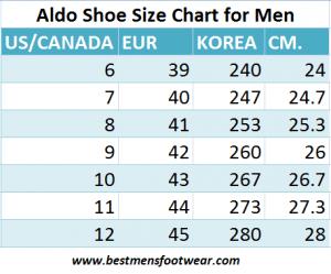 Aldo shoe size chart best mens footwear