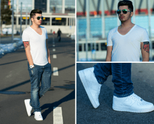 sports shoes e9365 929b2 5 Stylish ways to Wear Nike Air Force 1 Low with Jeans Trouser