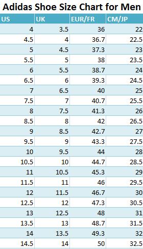 Adidas Shoe Size Chart For Men