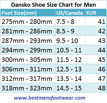 Dansko Shoe Sizing Chart For Men