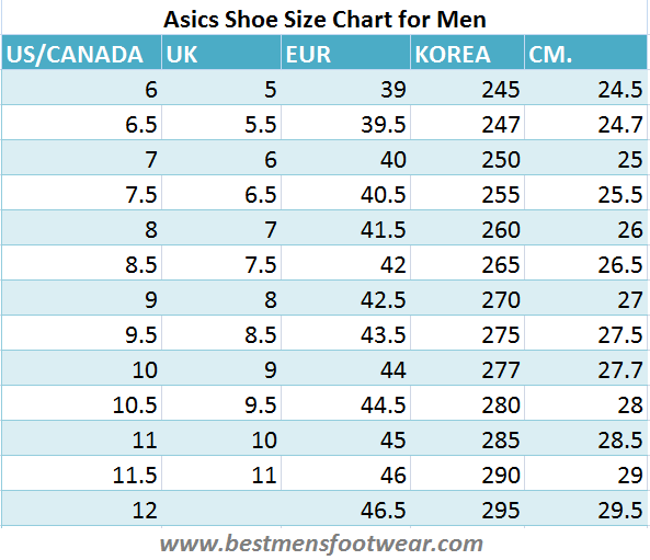 Asics shoe size chart best mens footwear