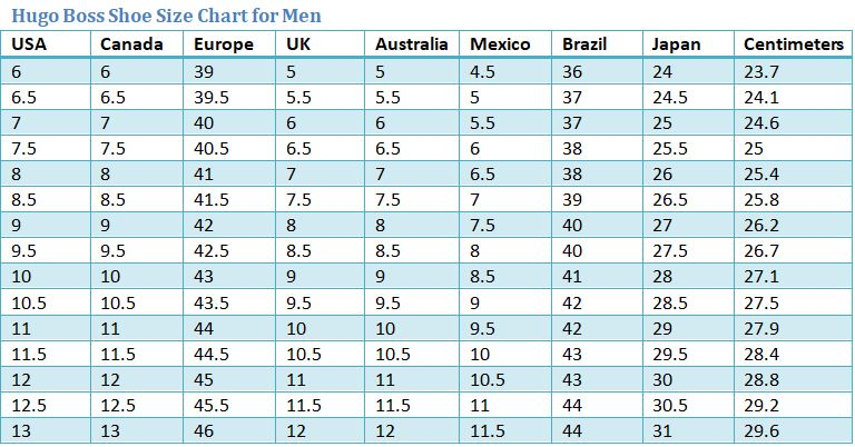Hugo Boss Shoe Size Chart Best Mens